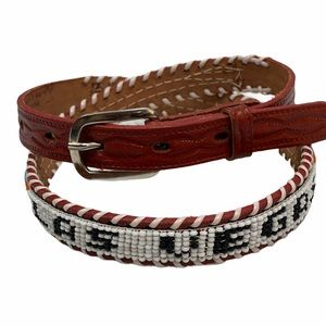 Vintage Belt White Black Las Vegas Beaded 30